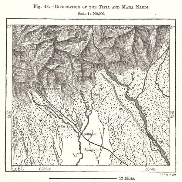 Associate Product Bifurcation of the Teesta and Mahanadi. Siliguri. India. Sketch map 1885