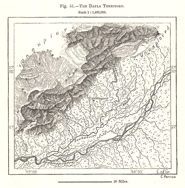 Associate Product The Dapla Territory. Lakhimpur. Assam India. Sketch map 1885 old antique