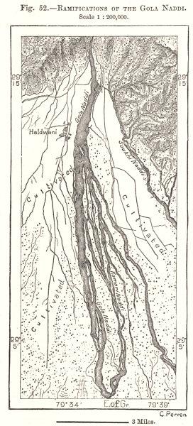 Associate Product Ramifications of the Gola Naddi. Haldwani Uttarakhand. India. Sketch map 1885