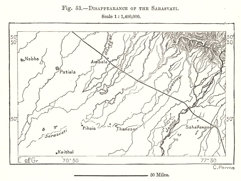 Associate Product Disappearance of the mythical Sarasvati river. India. Sketch map 1885 old