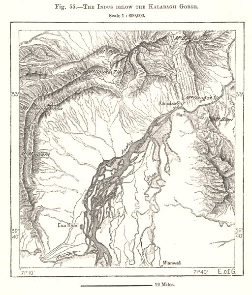 Associate Product The Indus Below the Kalabagh Gorge. Pakistan. Sketch map 1885 old antique