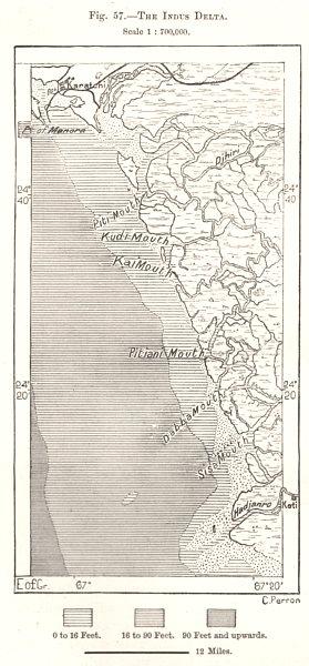 Associate Product The Indus Delta. Pakistan. Sketch map 1885 old antique vintage plan chart