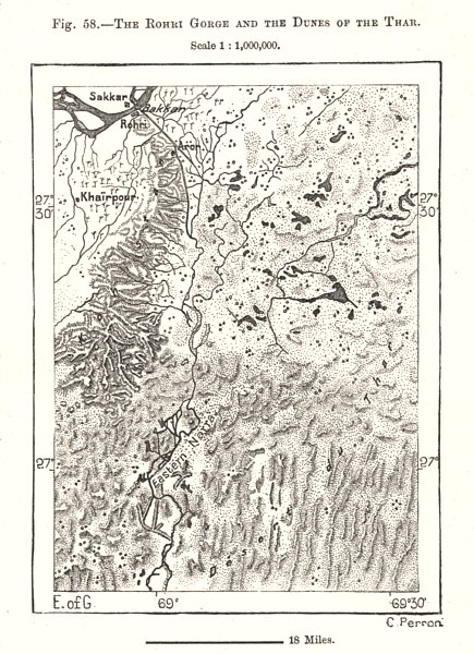 Associate Product The Rohri Gorge and the Dunes of the Thar. Sukkur. Pakistan. Sketch map 1885
