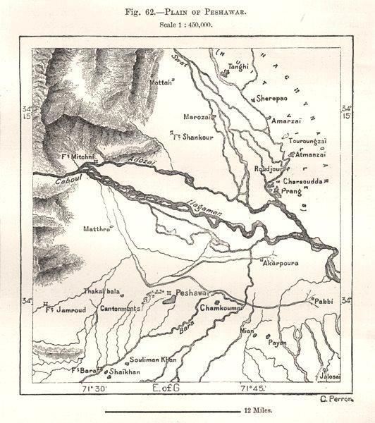 Associate Product Plain of Peshawar. Pakistan. Sketch map 1885 old antique plan chart