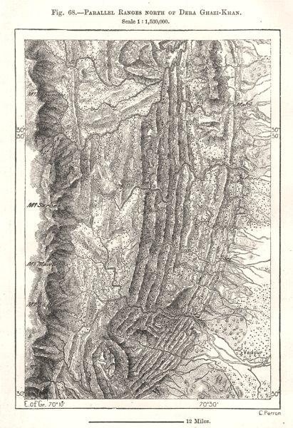 Associate Product Parallel Ranges North of Dera Ghazi-Khan. Pakistan. Sketch map 1885 old