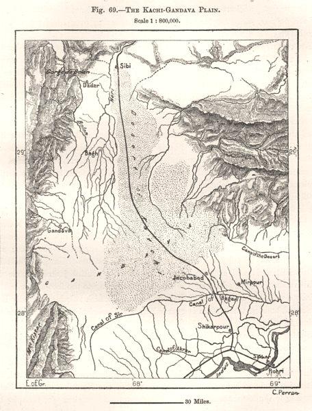 Associate Product The Kacchi-Gandava Plain. Pakistan. Sketch map 1885 old antique plan chart