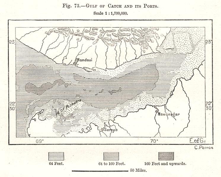Associate Product Gulf of Kutch and its Ports. Mandvi Jamnagar. India. Sketch map 1885 old