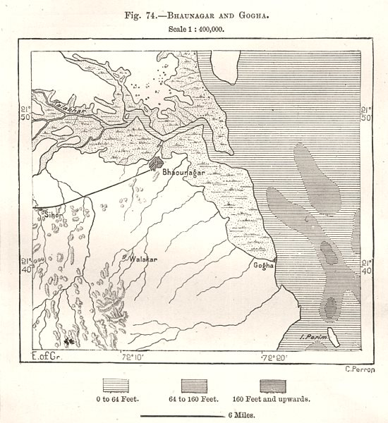 Associate Product Bhavnagar and Ghogha. India. Sketch map 1885 old antique plan chart