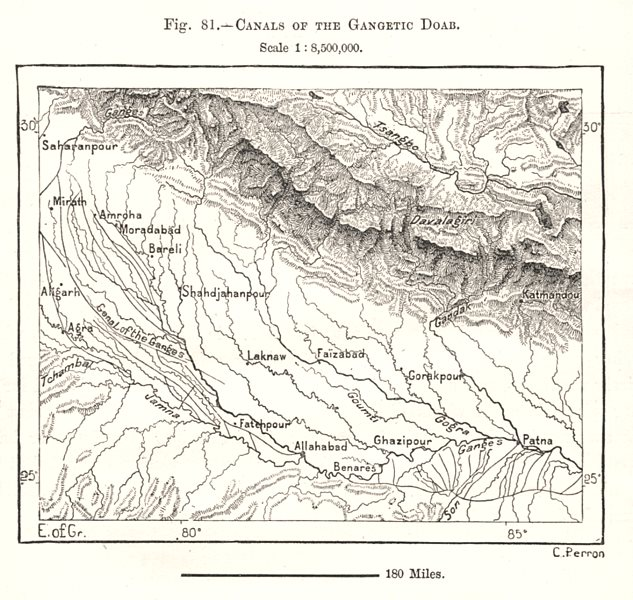 Associate Product Canals of the Gangetic Doab. Patna. India. Sketch map 1885 old antique