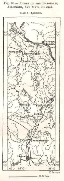Associate Product Course of the Bhagirathi, Jalangi & Mathabhanga. Calcutta India. Sketch map 1885