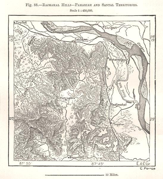 Associate Product Rajmahal Hills, Pahariah & Santhal Territories. Jharkhand India. Sketch map 1885