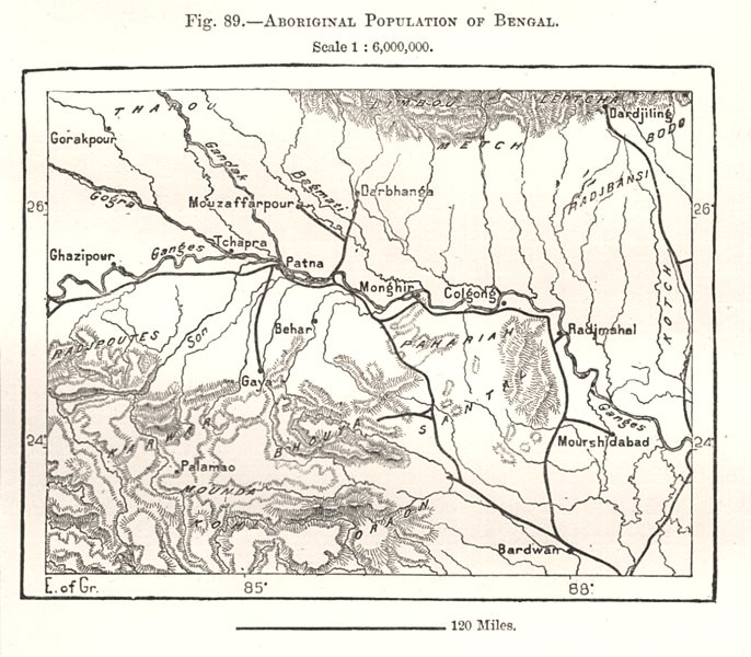 Associate Product Aboriginal Population of Bengal. India. Sketch map 1885 old antique chart