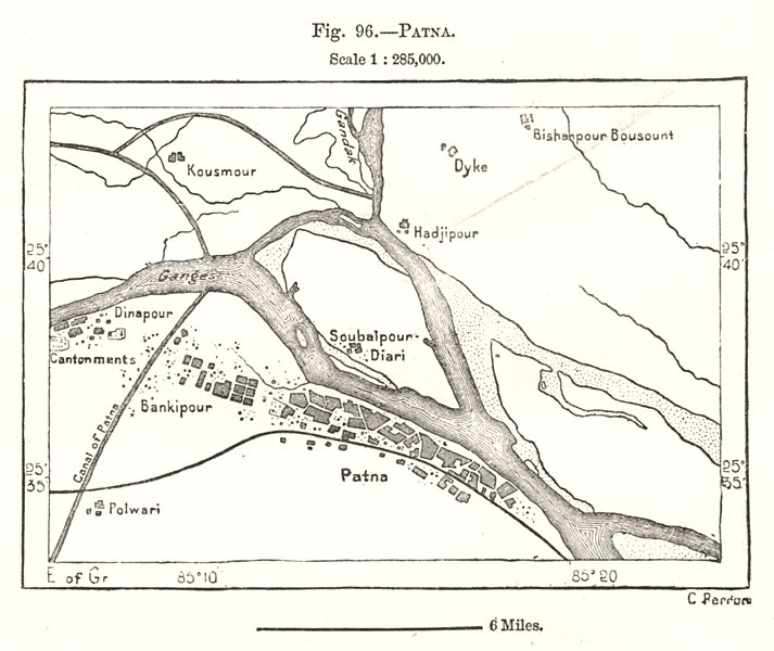 Patna town city plan & environs. India. Sketch map 1885 old antique chart