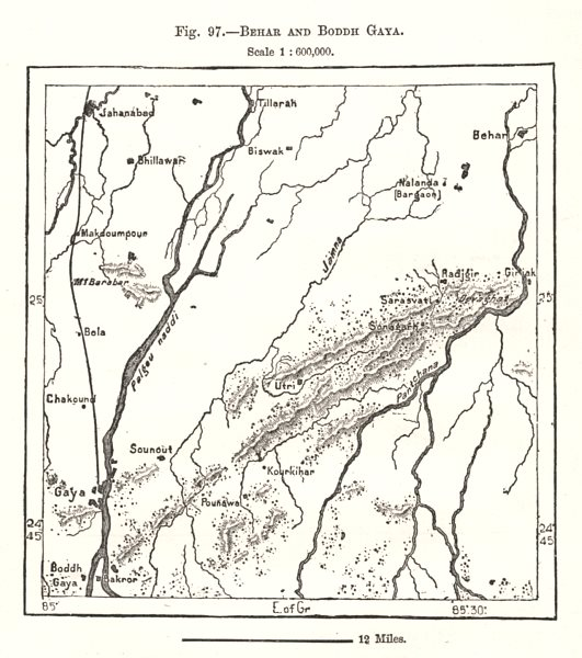 Associate Product Bihar and Boddh Gaya. India. Sketch map 1885 old antique plan chart