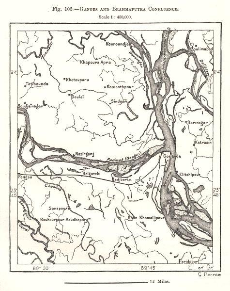 Associate Product Ganges and Brahmaputra Confluence. Bangladesh. Sketch map 1885 old antique