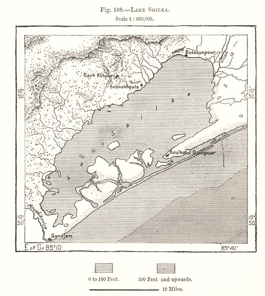 Associate Product Lake Chilika. India. Sketch map 1885 old antique vintage plan chart