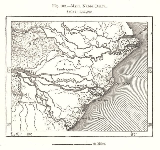 Associate Product Mahanadi Delta. India. Sketch map 1885 old antique vintage plan chart