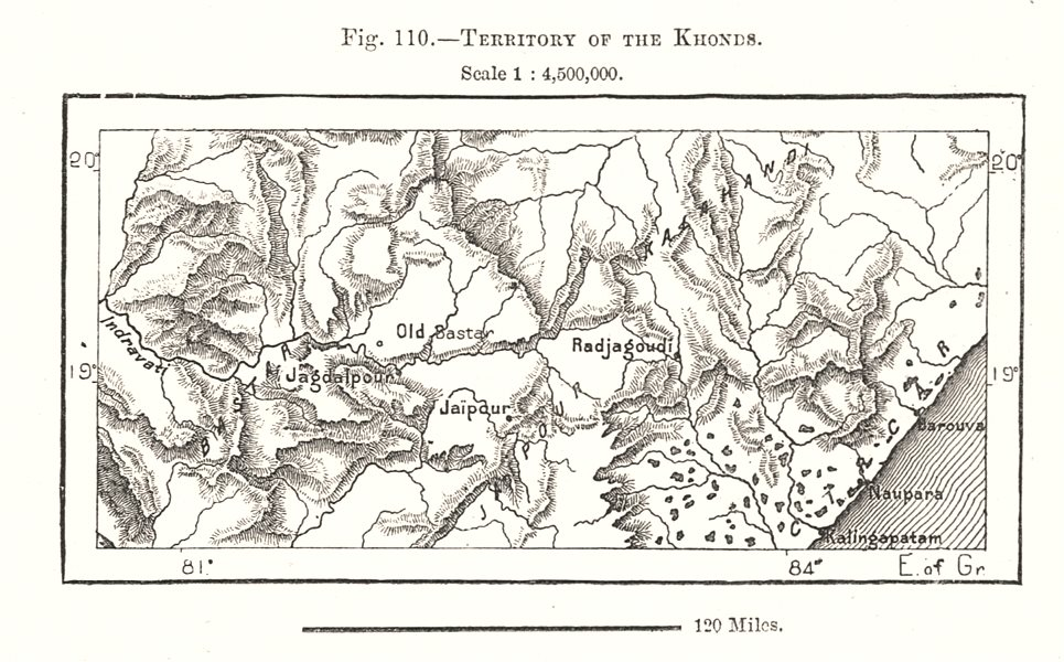 Associate Product Territory of the Khonds. India. Sketch map 1885 old antique plan chart