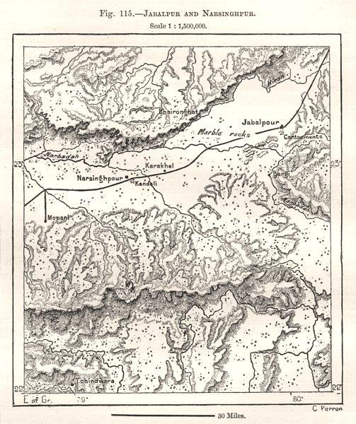 Associate Product Jabalpur and Narsinghpur. India. Sketch map 1885 old antique plan chart