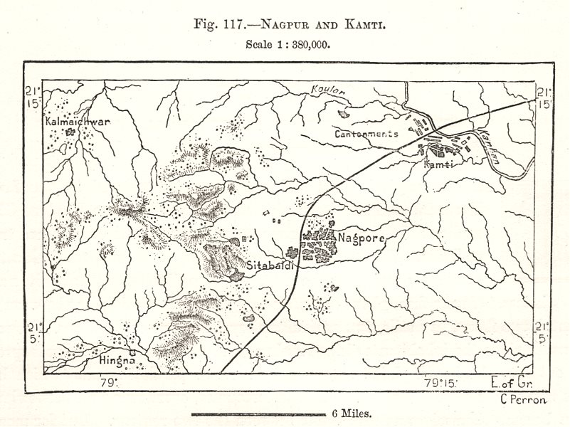 Associate Product Nagpur and Kamptee. India. Sketch map 1885 old antique vintage plan chart