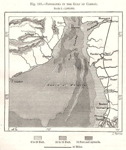 Associate Product Sandbanks in the Gulf of Khambhat. India. Sketch map 1885 old antique