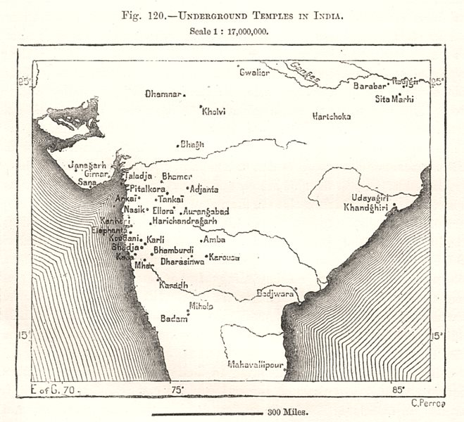 Associate Product Underground Temples in India. Sketch map 1885 old antique plan chart
