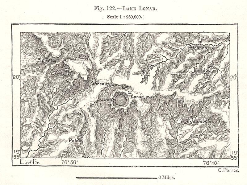 Associate Product Lake Lonar. India. Sketch map 1885 old antique vintage plan chart