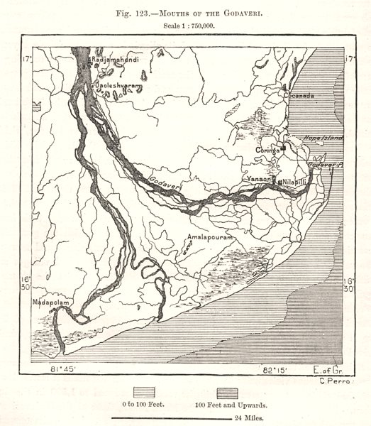 Associate Product Mouths of the Godavari. India. Sketch map 1885 old antique plan chart