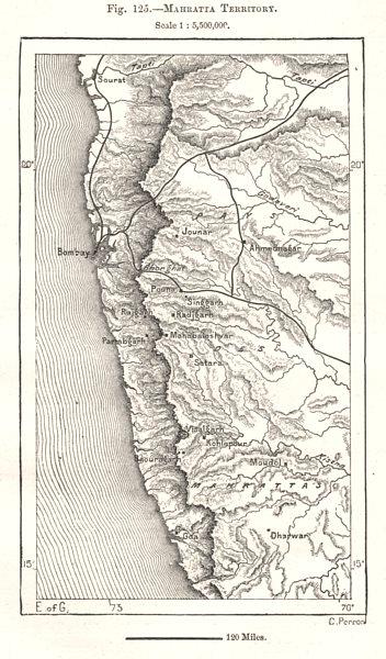 Mahratta Territory. Bombay Mumbai. India. Sketch map 1885 old antique