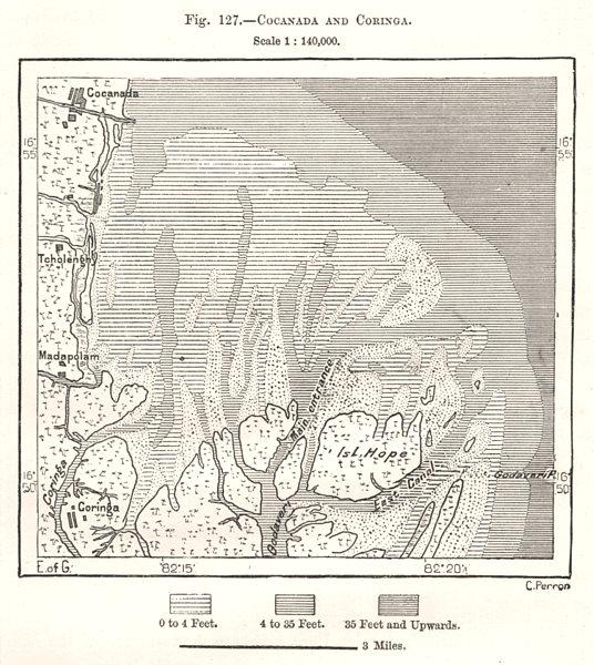 Associate Product Kakinada and Korangi. India. Sketch map 1885 old antique plan chart