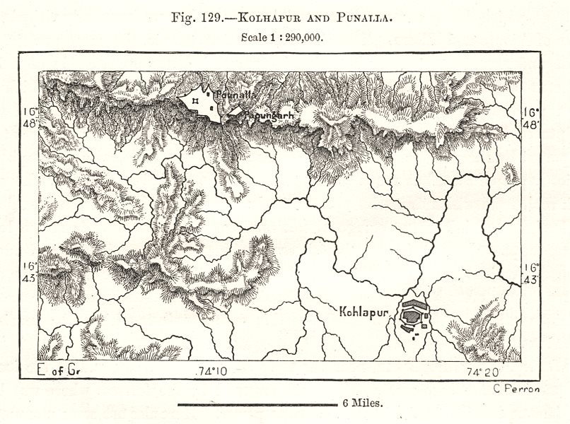 Associate Product Kolhapur and Panhala Fort. India. Sketch map 1885 old antique plan chart