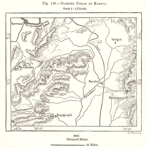 Associate Product Diamond Fields of Kurnool. India. Sketch map 1885 old antique plan chart