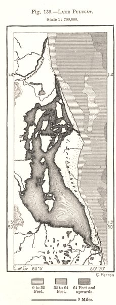 Associate Product Lake Pulicat. India. Sketch map 1885 old antique vintage plan chart
