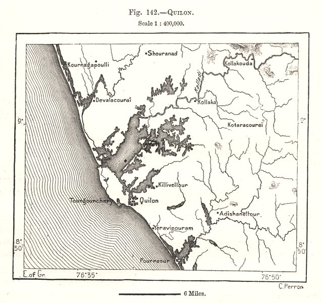 Associate Product Kollam & environs. India. Sketch map 1885 old antique vintage plan chart