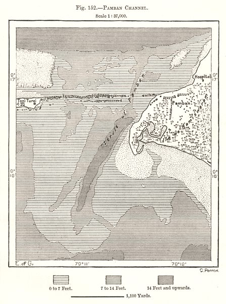 Associate Product Pamban Channel. India. Sketch map 1885 old antique vintage plan chart