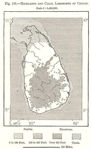 Associate Product Highlands & Coral Limestones of Ceylon (Sri Lanka). Sri Lanka. Sketch map 1885