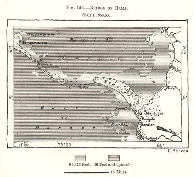 Bridge of Rama. Sri Lanka. Sketch map 1885 old antique vintage plan chart