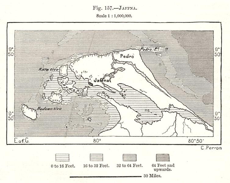Associate Product Jaffna. Sri Lanka. Sketch map 1885 old antique vintage plan chart