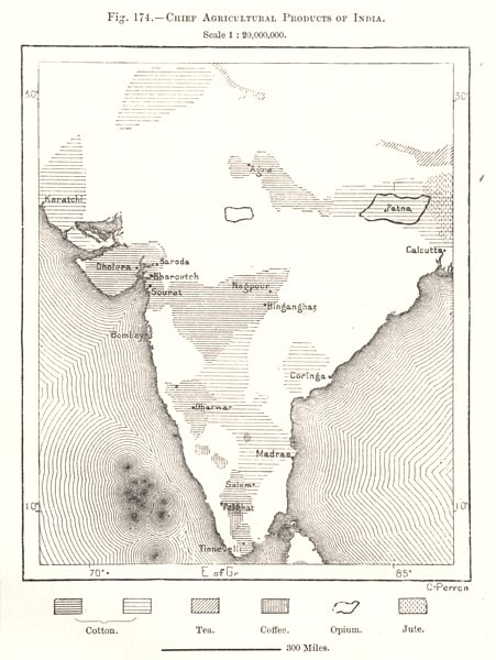 India chief agricultural products. Opium tea cotton jute coffee. Sketch map 1885