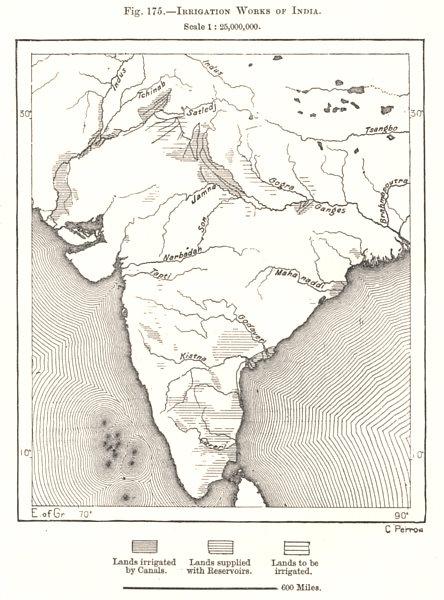 Associate Product Irrigation Works of India. Sketch map 1885 old antique vintage plan chart