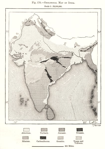 Associate Product Geological Map of India. Sketch map 1885 old antique vintage plan chart