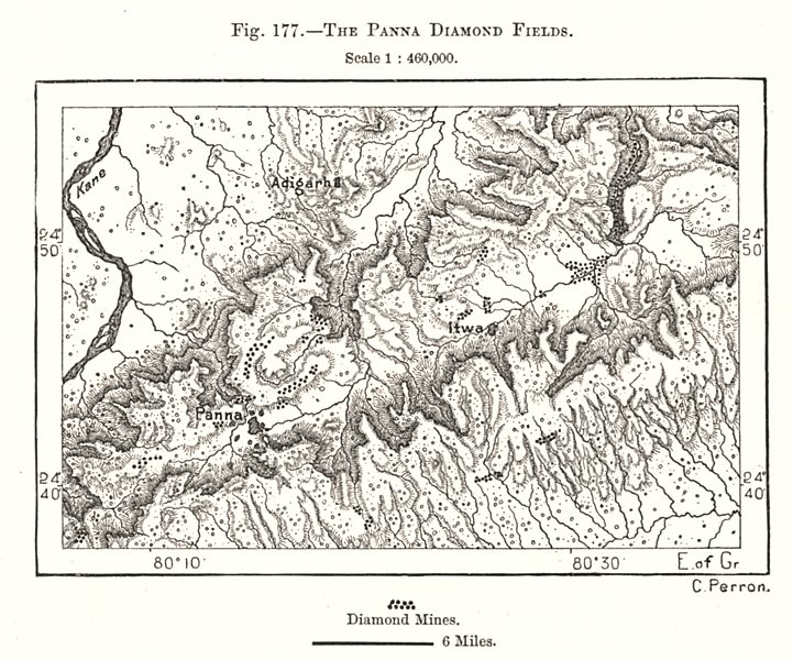 Associate Product The Panna Diamond Fields. India. Sketch map 1885 old antique plan chart
