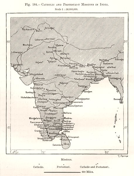Associate Product Catholic and Protestant Missions in India. Sketch map 1885 old antique