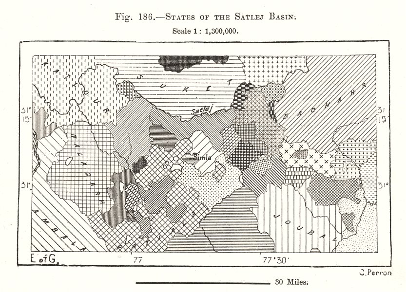 Associate Product States of the Sutlej Basin. India. Sketch map 1885 old antique plan chart