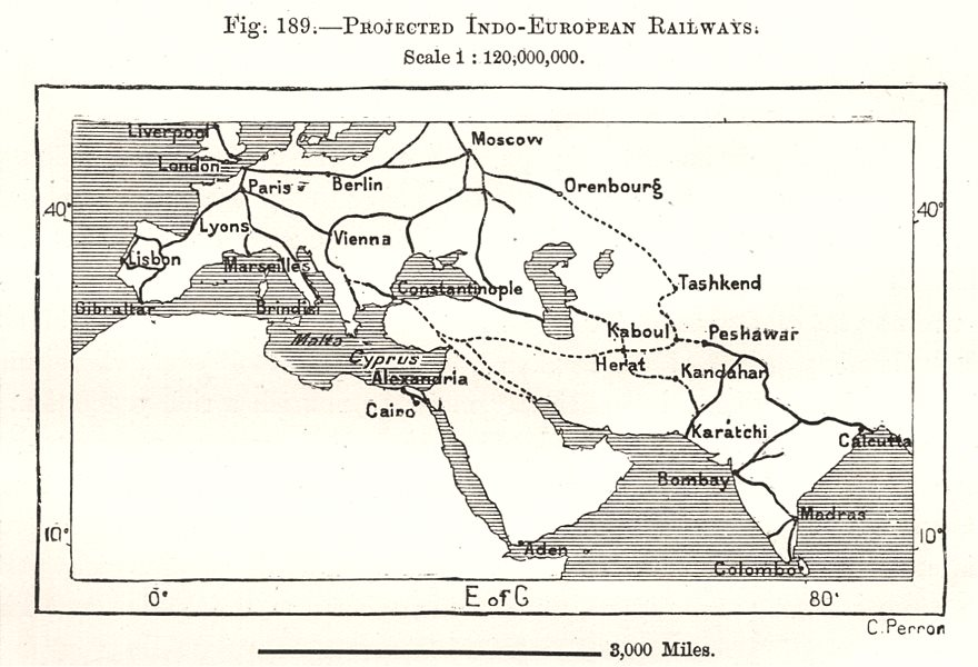 Associate Product Projected Indo-European Railways. Asia. Sketch map 1885 old antique chart