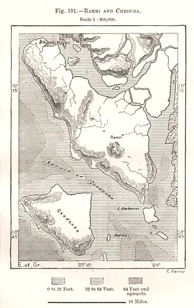 Associate Product Ramree and Cheduba. Burma. Sketch map 1885 old antique vintage plan chart