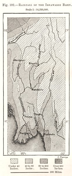 Associate Product Rainfall of the Irrawaddy Basin. Burma. Sketch map 1885 old antique chart