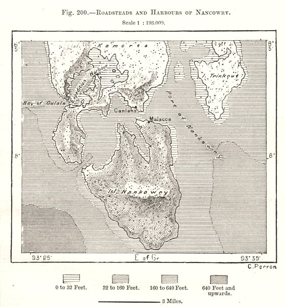 Roadsteads and Harbours of Nancowry. India. Sketch map 1885 old antique