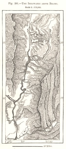 Associate Product The Irrawaddy above Bhamo. Burma Myanmar. Sketch map 1885 old antique