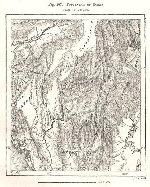 Associate Product Population of Burma Myanmar. Sketch map 1885 old antique plan chart